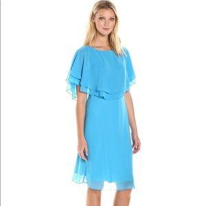 NWT Tahari Aqua Blue Flutter Sleeve Dress